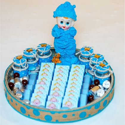"Picture of ""It's A Boy ""  Wooden Rounded Tray"
