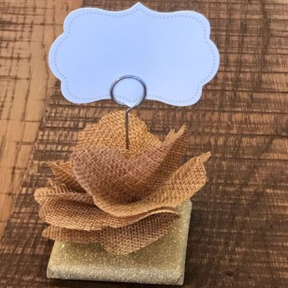 Picture of Burlap Rose Place Card Holder Over  Wrapped Chocolate Piece