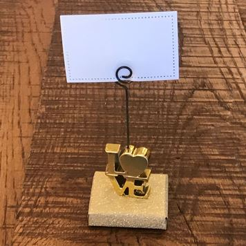 Picture of Love Gold Place Card Holder Over  Wrapped Chocolate Piece