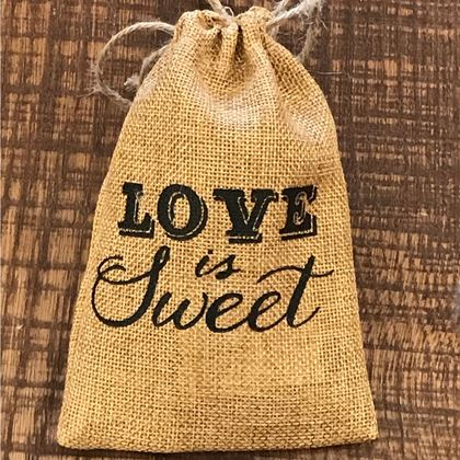 "Picture of ""Love Is Sweet"" Burlap Drawstring Chocolate  favor Bag"