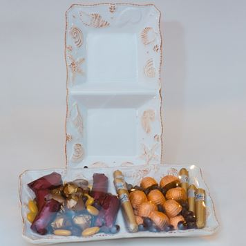 Picture of Beach Design Two Section Chocolate  Dish